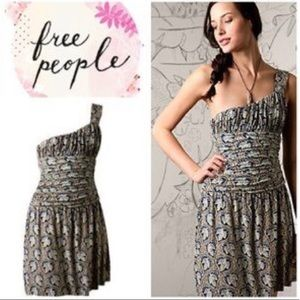 Free People One Shoulder Ruched Mini Dress XS